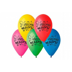 Obrázek Balonek /Balonky nafukovací 10 průměr 26cm Všechno nejlepší 10ks v sáčku