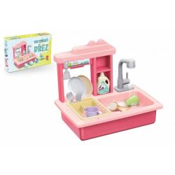 Obrázek Dřez na mytí nádobí růžový + kohoutek na vodu na baterie plast s doplňky v krabici 46x28x12cm