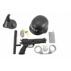 Obrázek Sada SWAT helma+pistole na setrvačník s doplňky plast v síťce