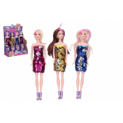 Obrázek Panenka kloubová pevné tělo s měnícími šaty plast 30cm 4 druhy v krabičce 7x33x5cm 12ks v boxu