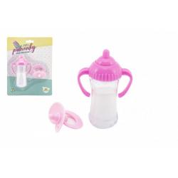 Obrázek Sada pro panenky plast lahvička, dudlík na kartě 15x21x5cm