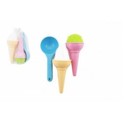 Obrázek Formičky Bábovky na písek plast zmrzlina 3ks v síťce 17x10cm 12m+