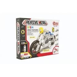Obrázek Stavebnice kovová motorka 139 dílků v krabici 26x20x4cm