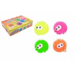 Obrázek Míček s očima gumový chlupatý antistresový 9cm svítící 4 barvy 12ks v boxu