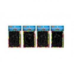 Obrázek Škrabacie mini obrázok dúhový 8,5x12cm 4 druhy v sáčku 36ks v boxe