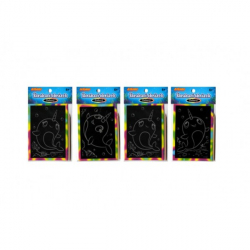 Obrázek Škrabací mini obrázek duhový 8,5x12cm 4 druhy v sáčku 36ks v boxu