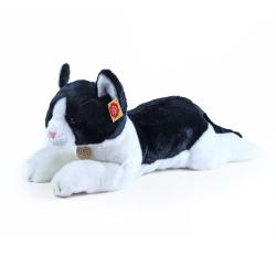 Obrázek plyšová kočka ležící černo-bílá 35 cm
