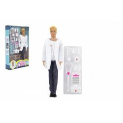 Obrázek Panáček doktor nekloubový plast 30cm s doplňky v krabici 20x33x5cm