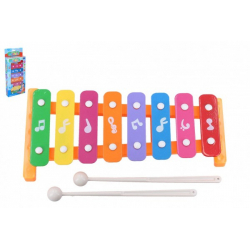 Obrázek Xylofon 26cm kov/plast + 2 paličky 3 barvy v krabici 13,5x32x4cm