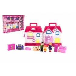 Obrázek Domeček s doplňky a figurkami plast na baterie se světlem a zvukem krabici 33x22x4cm