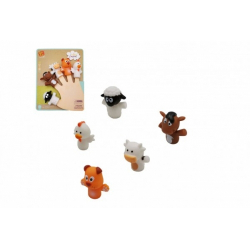 Obrázek Maňásek prstový zvířátko domácí farma guma 5cm na kartě 16x20,5cm