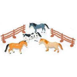 Obrázek koně v sáčku 4 ks s ohradou
