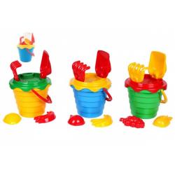 Obrázek Sada na písek plast kbelík se sítkem 15x13cm, lopatka, hrabičky, 2 bábovky 4 barvy v síťce 12m+