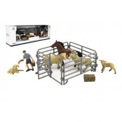 Obrázek Zvířátka domácí farma s doplňky sada plast 3 druhy v krabičce 43x14x10cm