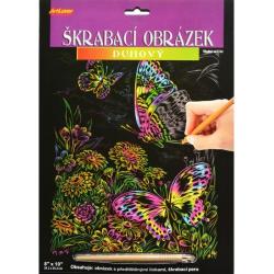 Obrázek Škrabací obrázek duhový - Motýli
