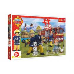 Obrázek Puzzle maxi 15 dílků Požárník Sam - Tým v akci 60x40cm v krabici 40x27x5cm 24m+