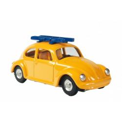 Obrázek Auto VW brouk s lyžemi kov 11cm žluté v krabičce Kovap