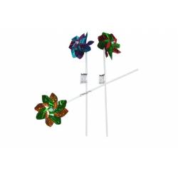 Obrázek Větrník barevný plast 43cm průměr 10cm - 6 barev
