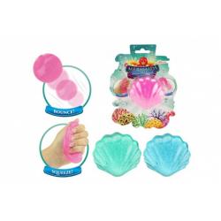 Obrázek Sliz - hmota třpytivá mušle 7cm 3 barvy v plastové krabičce na kartě