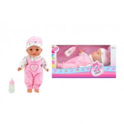 Obrázek Panenka miminko s lahví měkké tělo plast 30cm v krabici 31x16x11cm