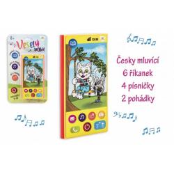 Obrázek Veselý Mobil Telefon plast česky mluvící 7,5x15cm na baterie se zvukem na kartě