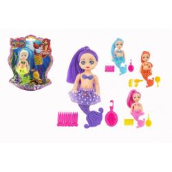 Obrázek Panenka mořská panna kloubová s doplňky plast 12cm 6 barev na kartě
