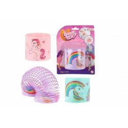 Obrázek Spirála/pružina jednorožec plast 7cm 3 barvy na kartě