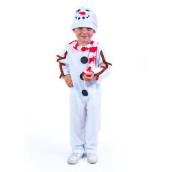 Obrázek Dětský kostým sněhulák s čepicí a červenou šálou (M)