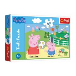 Obrázek Puzzle Prasátko Peppa/Peppa Pig Zábava s přáteli 33x22cm 60 dílků v krabičce 21x14x4cm