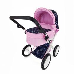 Obrázek Kočárek pro panenky s polohovací rukojetí modro/růžový s puntíky