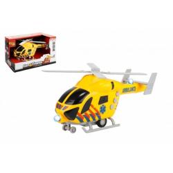 Obrázek Vrtulník záchranáři 20cm plast na setrvačník na baterie se světlem se zvukem v krabici 23x13x10cm