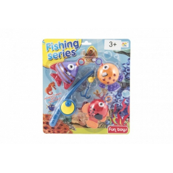 Obrázek Hra ryby/rybář s prutem 20cm plast na kartě 26x29cm