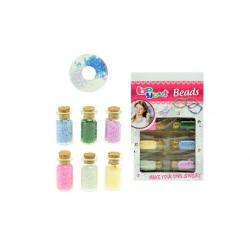 Obrázek Sada korálky vo fľaštičkách plast mix farieb 13x20x2,5cm