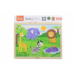 Obrázek Dřevěné puzzle 16 dílků - divočina