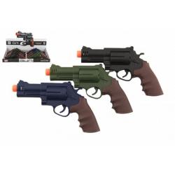 Obrázek Pistole/revolver plast 17x11cm na baterie se zvukem se světlem 3 barvy 12ks v boxu