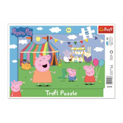 Obrázek Puzzle deskové V zábavním parku Prasátko Peppa/Peppa Pig 15dílků 33x23cm