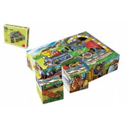 Obrázek Kocky kubus Mašinka drevo 12ks v krabičke 16x12x4cm