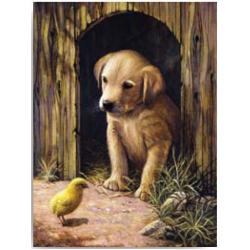 Obrázek Malování podle čísel- Pejsek s kuřátkem