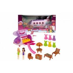 Obrázek Letadlo plast s panenkami, oblečky a s plážovým setem 20ks v krabici 44x21x22cm
