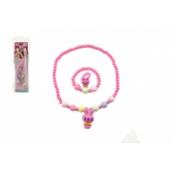 Obrázek Náhrdelník, náramek a prstýnek korálky perleťové plast 20cm 2 barvy v sáčku