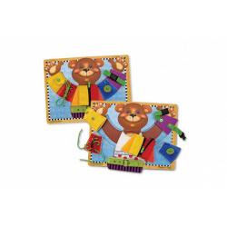 Obrázek Vkládačka Medvěd s různými typy zapínání dřevo 40x30cm ve fólii