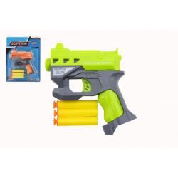 Obrázek Pistole na pěnové náboje s přísavkami + náboje 3ks plast 12x14cm 2 barvy na kartě