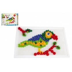 Obrázek Mozaika sada plast barevná 400ks kloboučky+kolíčky v krabici 32x24x3,5cm