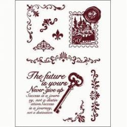 Obrázek Gelová razítka - Klíč s textem, poštovní známka, girlandy