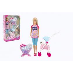 Obrázek Panenka Anlily kloubová 30cm plast s mazlíčkem v kočárku s doplňky v krabici 22x32x6,5cm