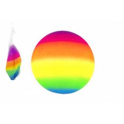 Obrázek Míč duhový gumový nenafouknutý 23cm v síťce