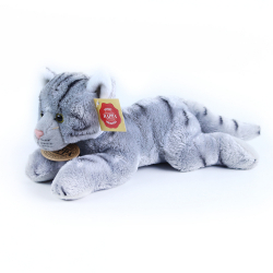Obrázek plyšová kočka ležící šedá, 18 cm