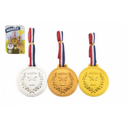 Obrázek Medaile se šňůrkou 3ks plast průměr 6cm na kartě