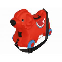 Obrázek Kufrík odrážadlo psík červený s kolieskami