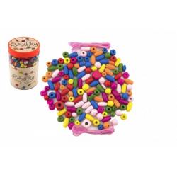 Obrázek Korálky dřevěné barevné s gumičkami cca 90 ks v plastové dóze 9x13,5cm